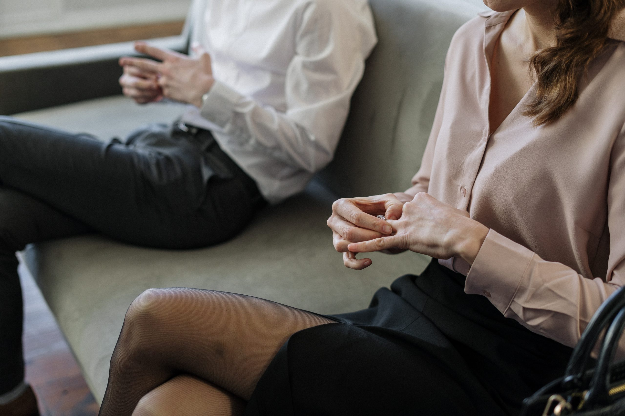 Couple attending a family mediation session